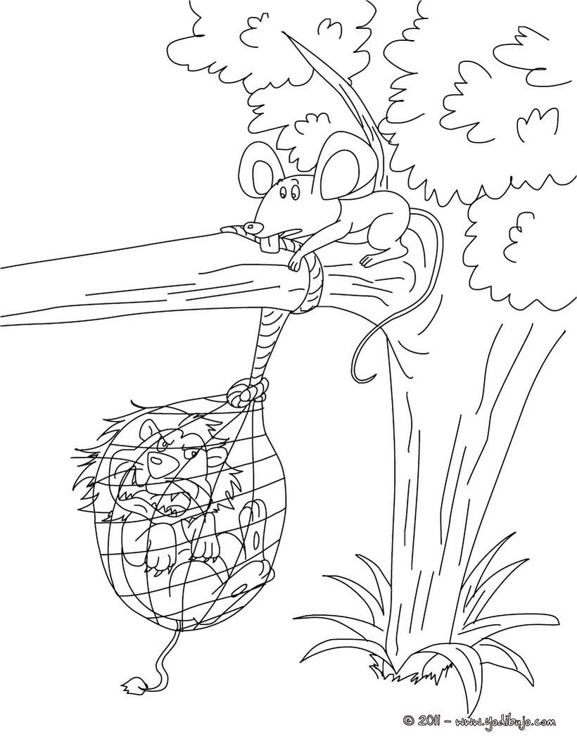 Dibujos para colorear cuento el leon y el raton - es.hellokids.com
