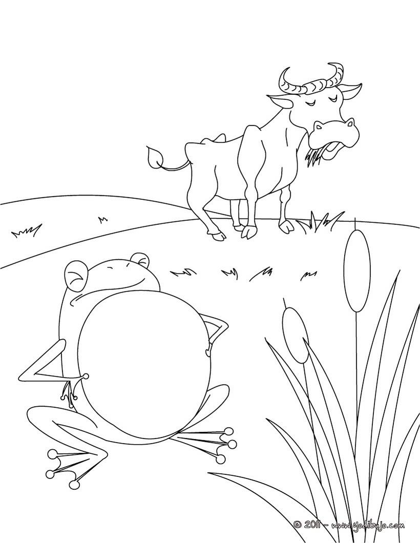 Dibujos para colorear cuento la rana que pretendia igualarse al buey ...