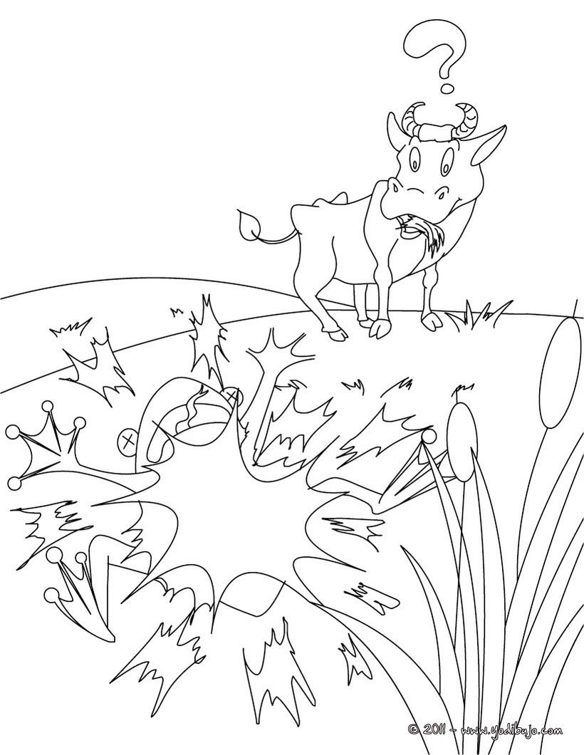 Dibujos para colorear fabula la rana que pretendia igualarse al buey ...