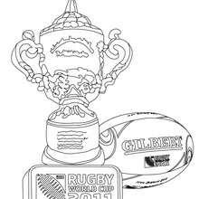 Dibujo para colorear de los trofeos de la copa mundial de rugby - Dibujos para Colorear y Pintar - Dibujos para colorear DEPORTES - Dibujos de RUGBY para colorear