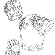 Dibujo para colorear el equipamiento de Rugby - Dibujos para Colorear y Pintar - Dibujos para colorear DEPORTES - Dibujos de RUGBY para colorear