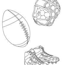 Dibujo de la pelota, el casco, de los zapatos de Rugby para colorear - Dibujos para Colorear y Pintar - Dibujos para colorear DEPORTES - Dibujos de RUGBY para colorear