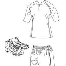 Dibujo para colorear de la camiseta, los pantalones cortos, los zapatos de Rugby - Dibujos para Colorear y Pintar - Dibujos para colorear DEPORTES - Dibujos de RUGBY para colorear
