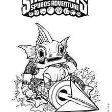 Dibujo de  GILL GRUNT para colorear - Dibujos para Colorear y Pintar - Dibujos para colorear SUPERHEROES - Dibujos para colorear SKYLANDERS Spyro's Adventure