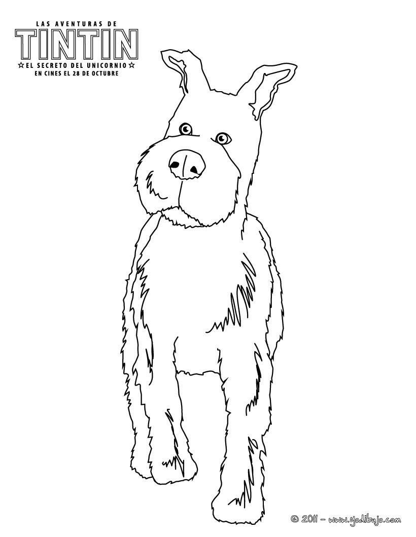Dibujos para colorear milÚ el perro de tintín - es.hellokids.com