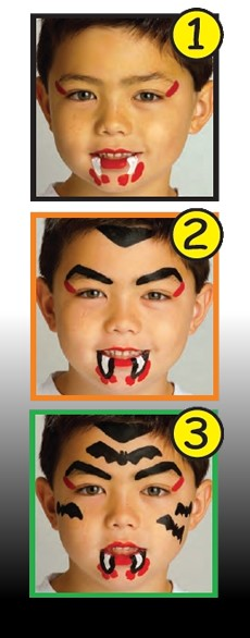 HALLOWEEN VAMPIRE face painting with sticks for boys