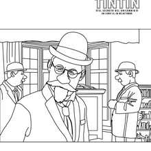 Dibujo del Profesor Silvestre TORNASOL  para colorear - Dibujos para Colorear y Pintar - Dibujos de PELICULAS colorear - Dibujos de TINTIN: El Secreto del Unicornio para COLOREAR