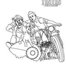 Dibujo para colorear : Tintín, Milú y Archibaldo Haddock