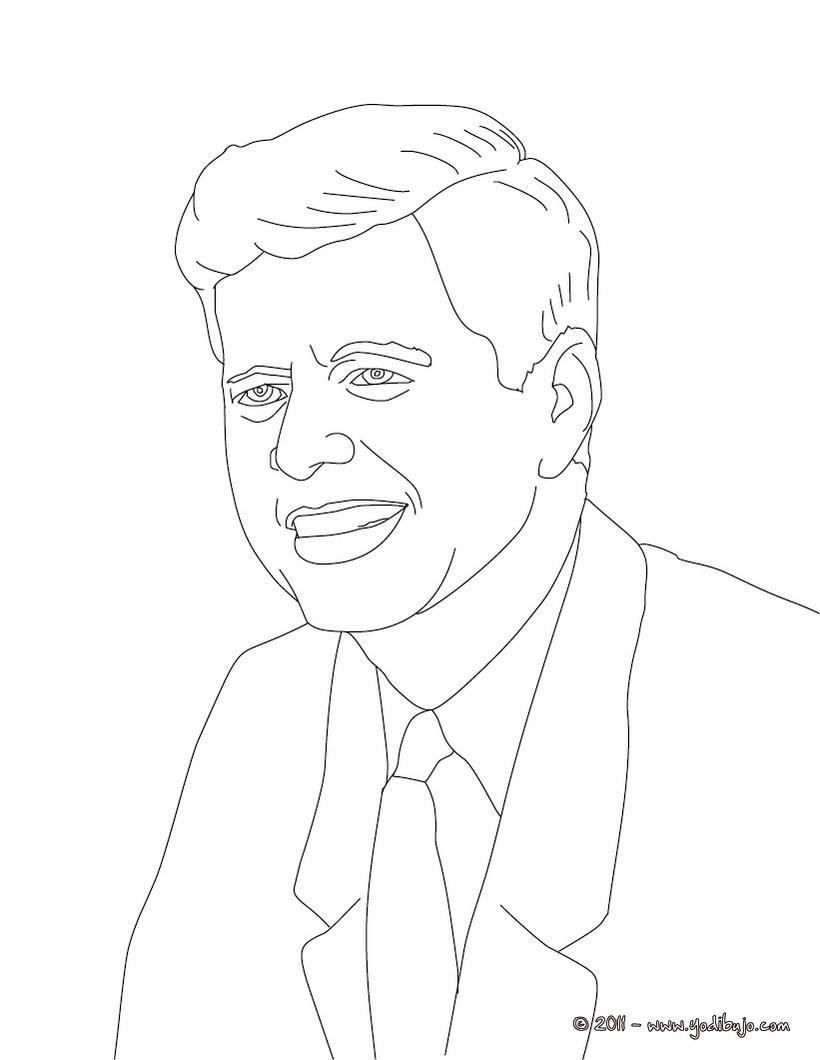 Dibujo para colorear : Presidente JOHN F. KENNEDY