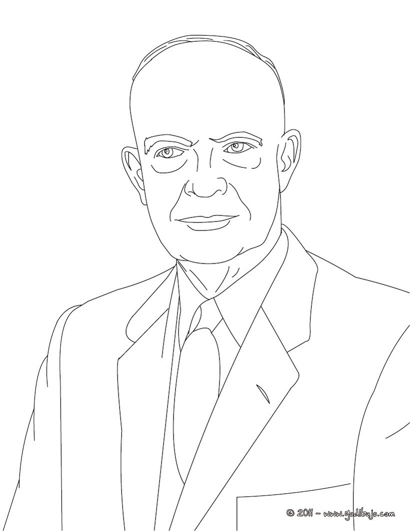 Dibujos para colorear presidente dwight eisenhower - es.hellokids.com