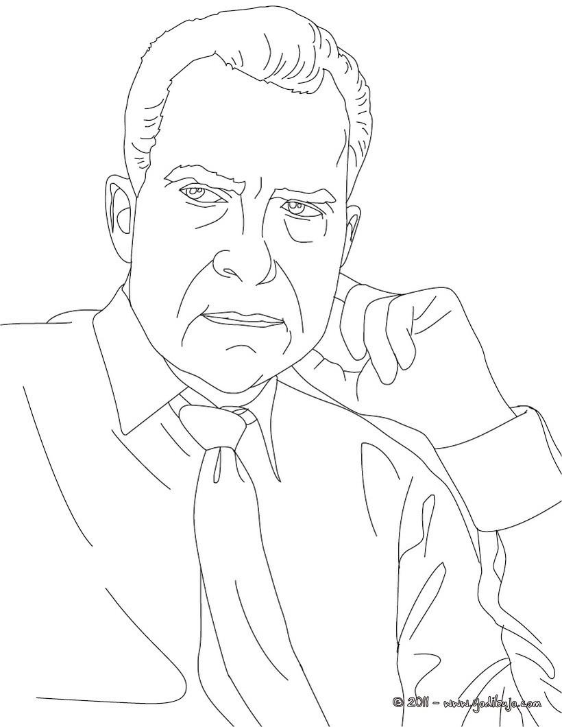 Dibujos para colorear presidente richard nixon - es.hellokids.com