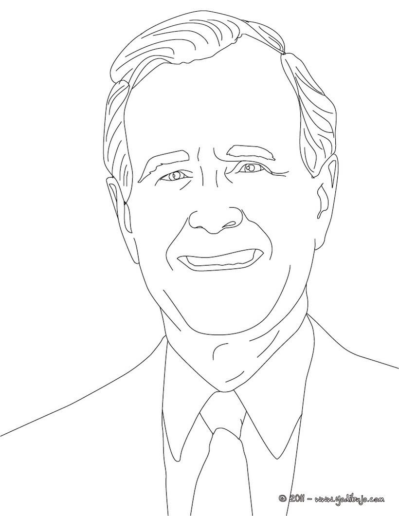 Dibujos Para Colorear Presidente George Bush Father