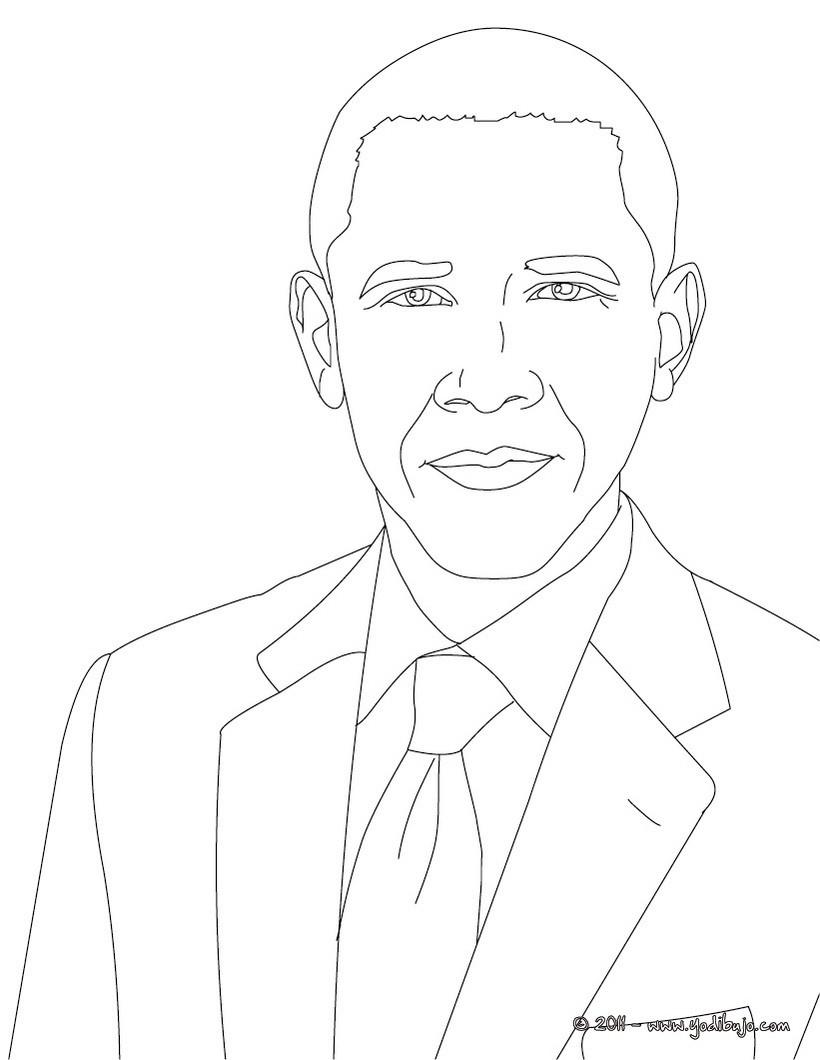 Dibujos para colorear presidente barack obama - es.hellokids.com