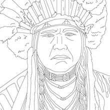 Jefe POWHATAN para colorear - Dibujos para Colorear y Pintar - Dibujos para colorear PERSONAJES - PERSONAJES HISTORICOS para colorear - AMERICANOS FAMOSOS para colorear - NATIVOS AMERICANOS