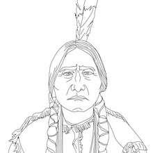 SITTING BULL para colorear - Dibujos para Colorear y Pintar - Dibujos para colorear PERSONAJES - PERSONAJES HISTORICOS para colorear - AMERICANOS FAMOSOS para colorear - NATIVOS AMERICANOS