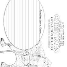 MODELO DE CARTA  GRANSANTA de Arthur christmas para colorear - Dibujos para Colorear y Pintar - Dibujos de PELICULAS colorear - Dibujos de ARTHUR CHRISTMAS: OPERACION REGALO para colorear