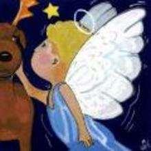 Ilustración : imagen infantil Navidad ANGEL Y RENO
