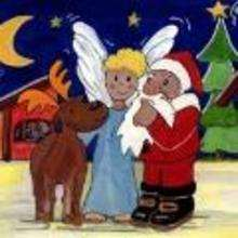 Ilustración : imagen infantil Navidad ANGEL, PAPA NOEL Y RENO