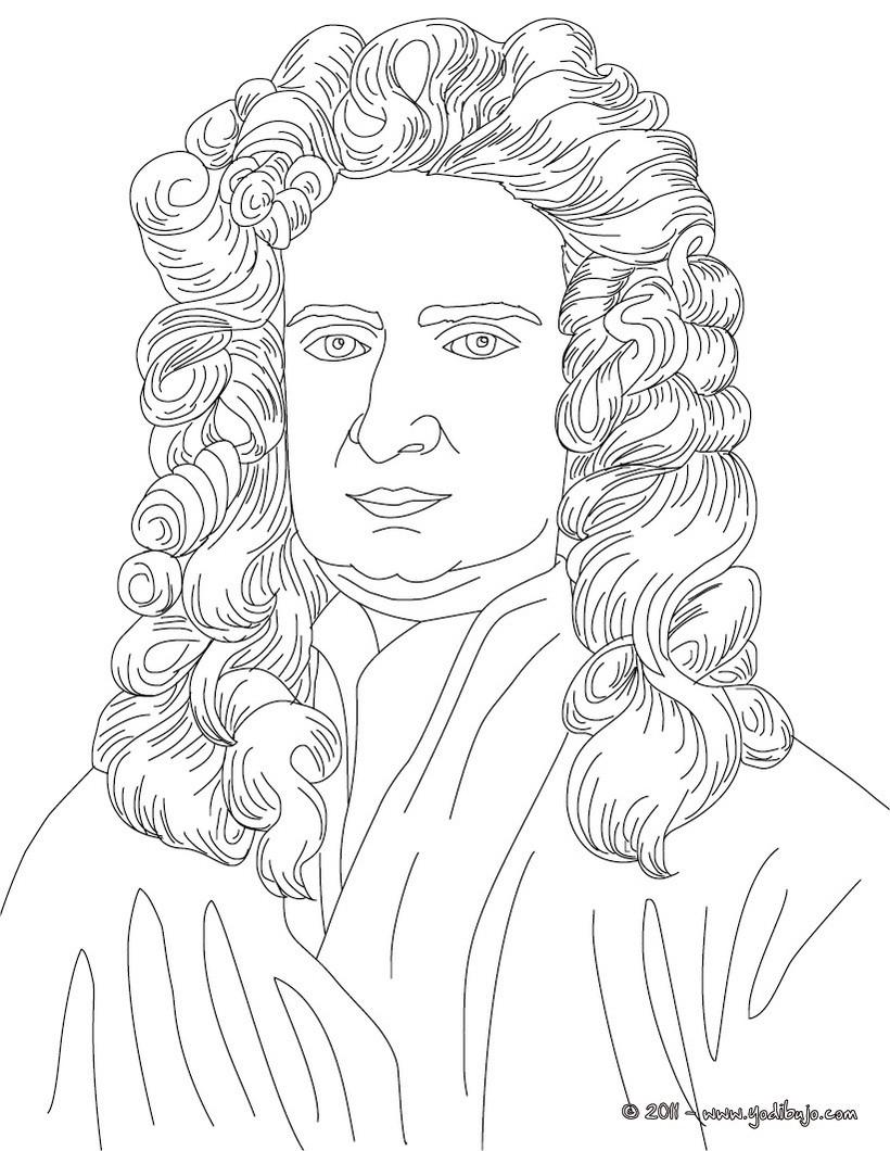 Dibujos Para Colorear Isaac Newton Es Hellokids Com