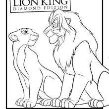 Dibujo de NALA Y SIMBA para colorear - Dibujos para Colorear y Pintar - Dibujos DISNEY para colorear - Dibujos para colorear ANIMALES DISNEY - Dibujos para colorear REY LEON