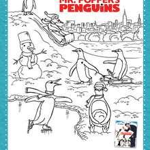 Dibujo para colorear : Los Pingüinos del SR. POPER
