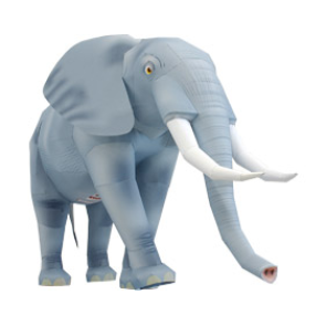 Elefante africano de papel 3D