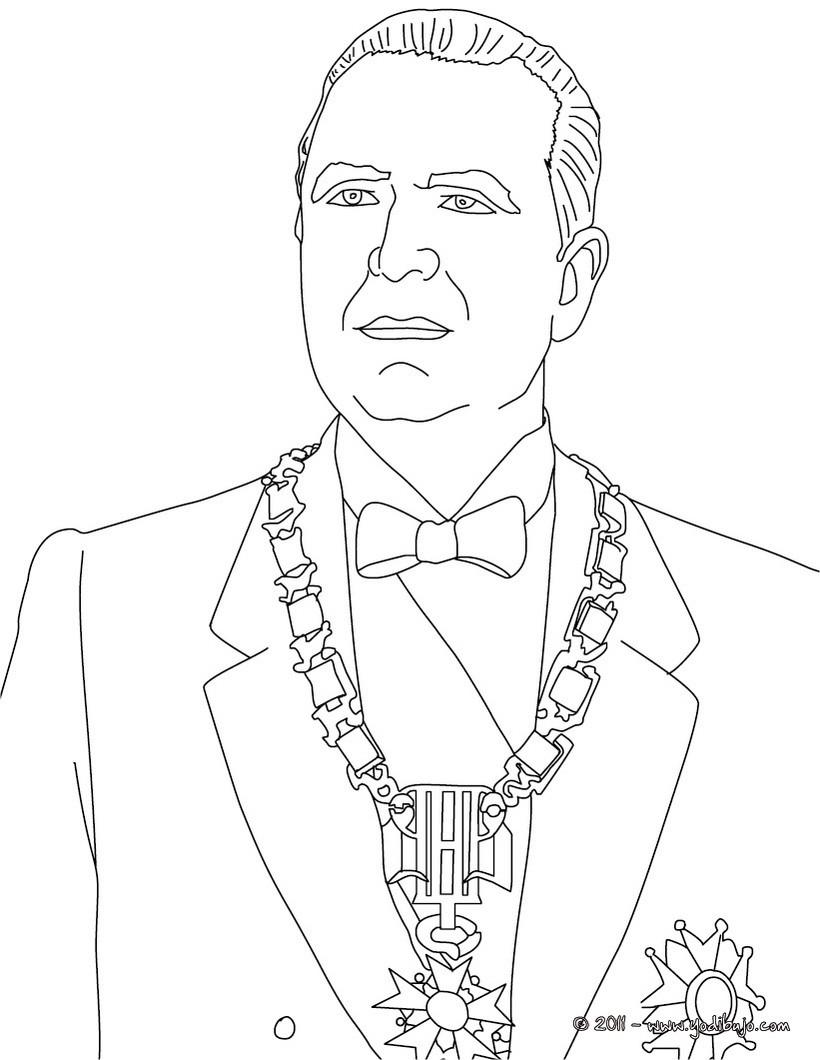 Dibujo para colorear : Presidente GEORGES POMPIDOU