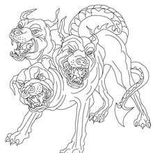 Dibujo para colorear : CERBERO , monstruo de 3 cabezas de perros