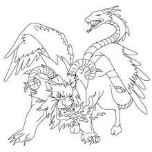 Dibujo para colorear : QUIMERA , monstruo horrendo griego
