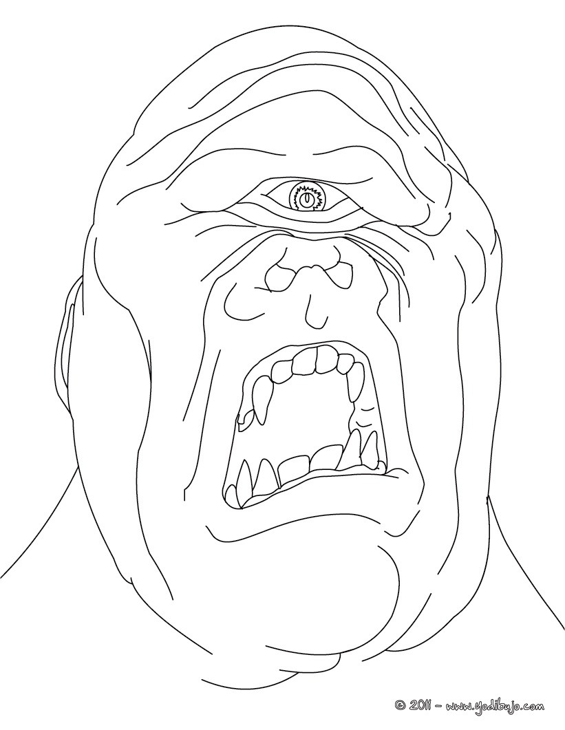 Dibujos para colorear ciclope , gigante con un solo ojo en mitad de ...