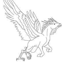 Dibujo para colorear : HIPALECTRION , criatura mitad gallo y mitad caballo