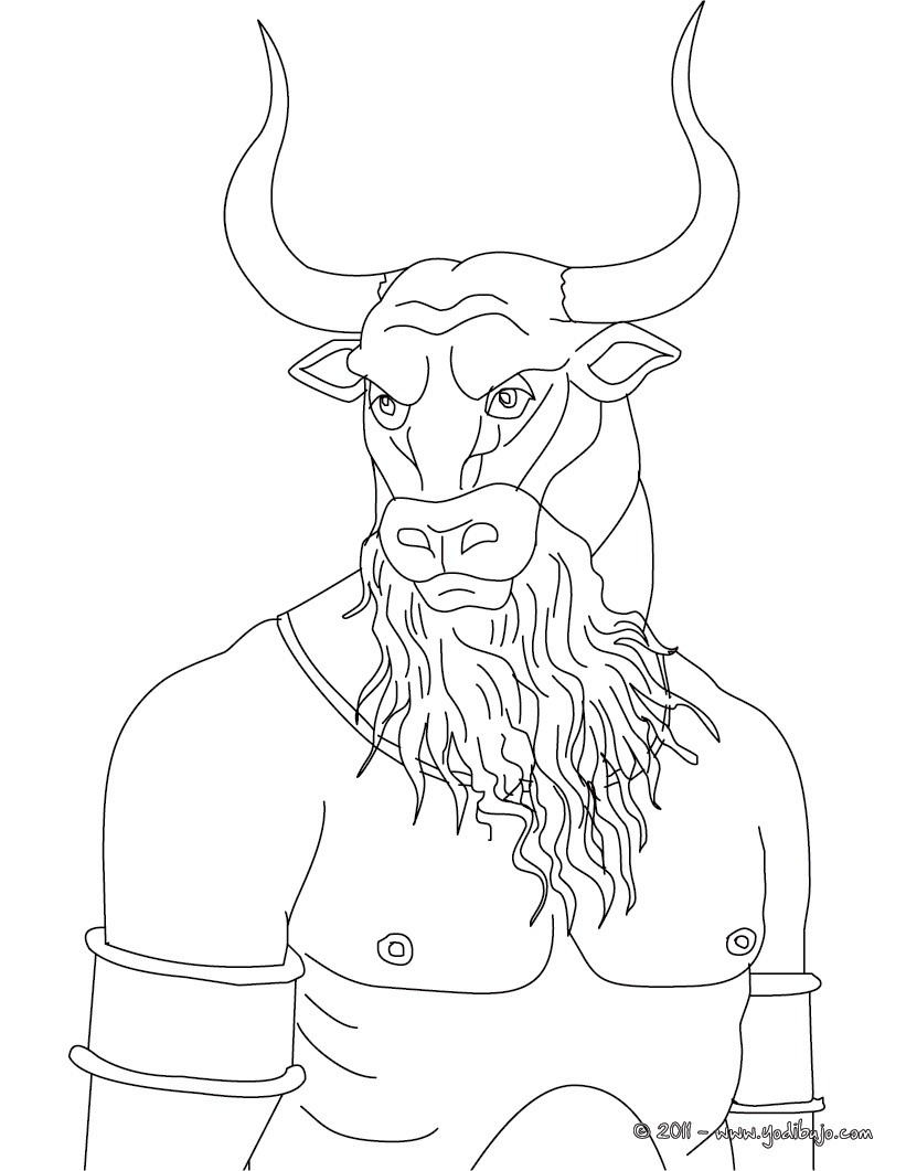Dibujos para colorear minotauro  gigante monstruo con cabeza de