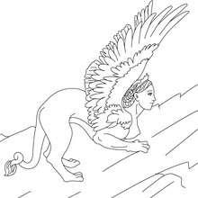 Dibujo de la ESFINGE para colorear, criatura con cuerpo de leon con alas y cabeza de mujer - Dibujos para Colorear y Pintar - Dibujos para colorear PERSONAJES - PERSONAJES HISTORICOS para colorear - PERSONAJES DE LA MITOLOGIA GRIEGA para colorear - CRIATU