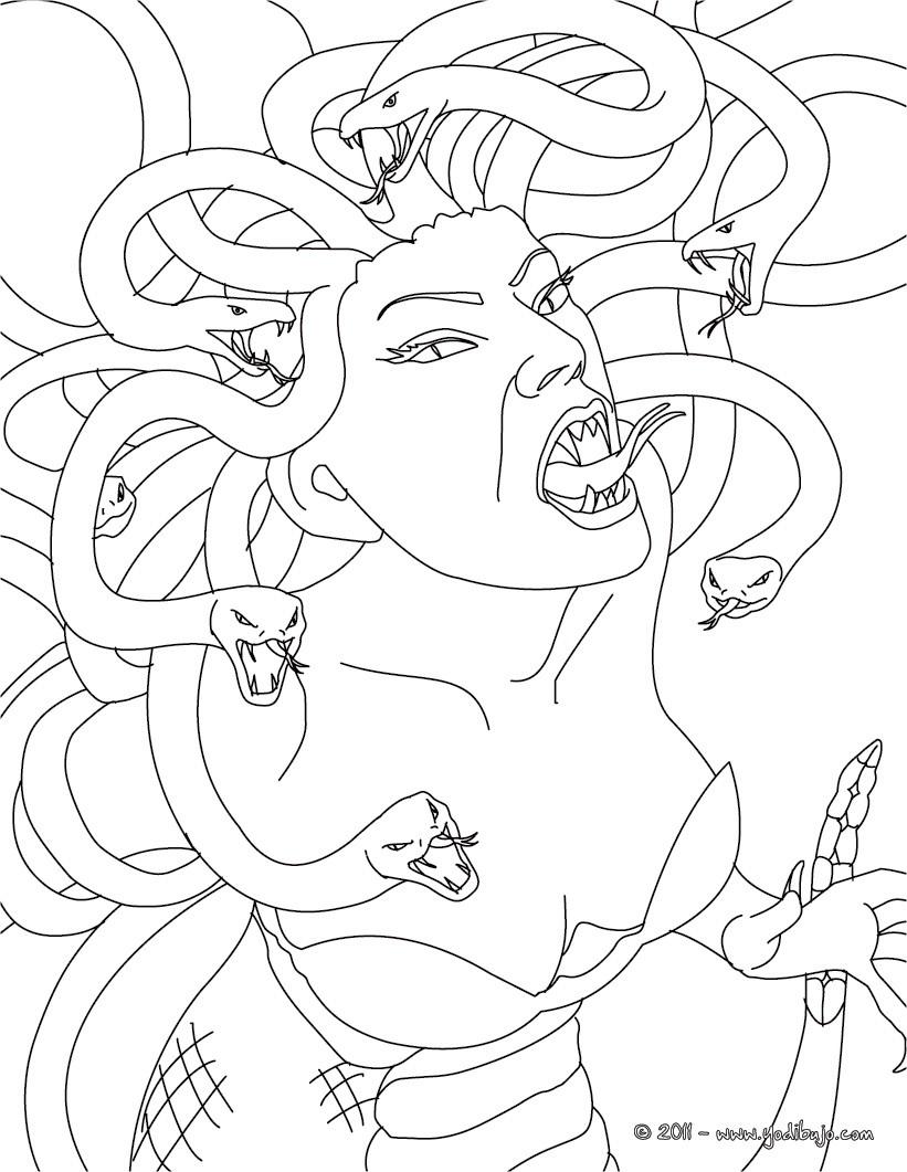 Dibujos Para Colorear Medusa Gorgona Con Cabellos De Serpiente Es Hellokids Com
