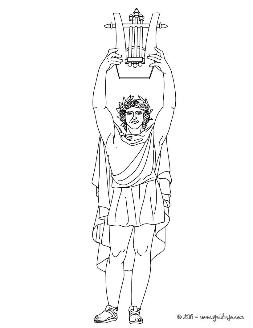 Dibujo para colorear : DIOS APOLO , dios griego de la música y de las artes