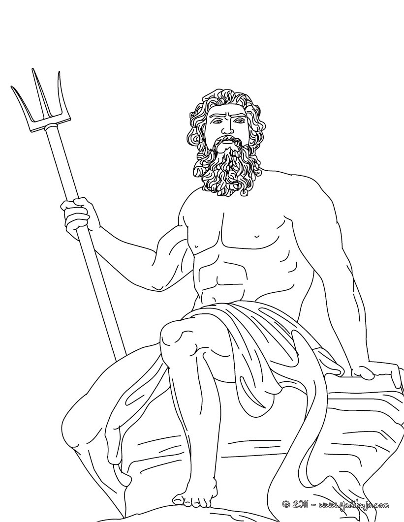 Dibujo para colorear : DIOS POSEIDON , dios griego de las mares
