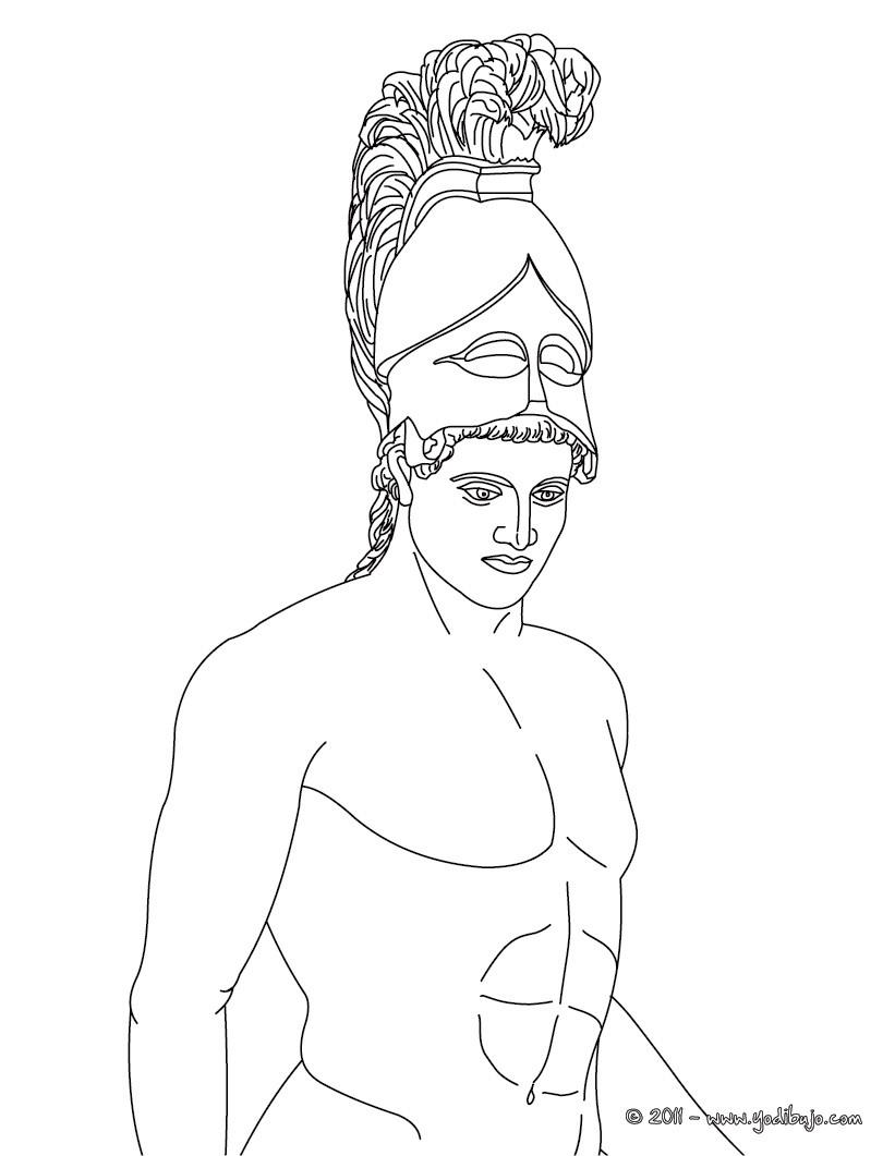Dibujo para colorear : DIOS ARES , dios griego de la guerra