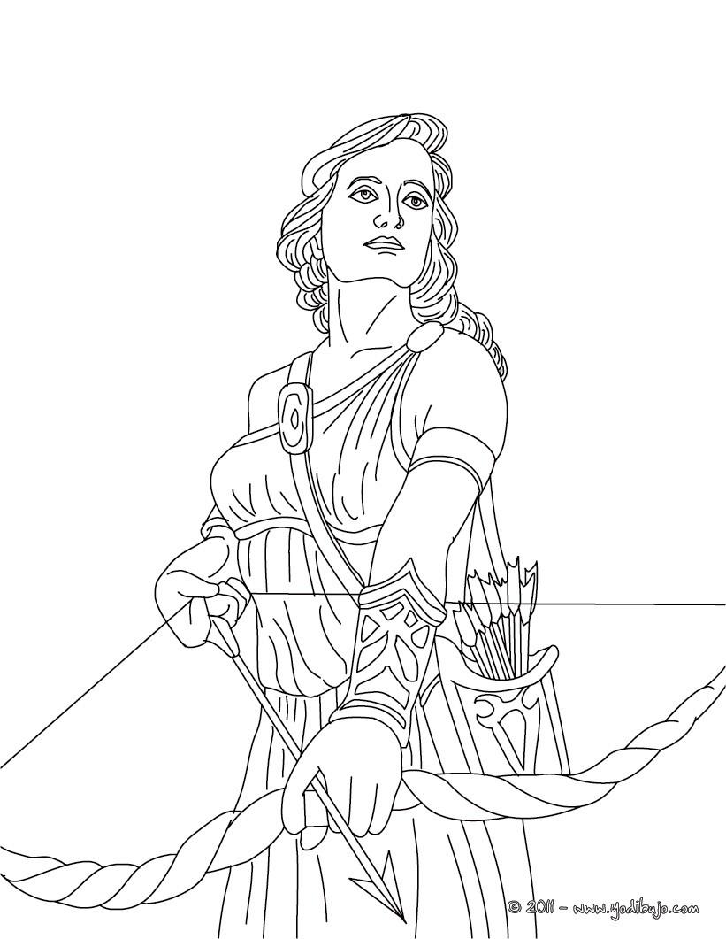 Dibujo para colorear : DIOSA ARTEMISA , diosa griega de la caza