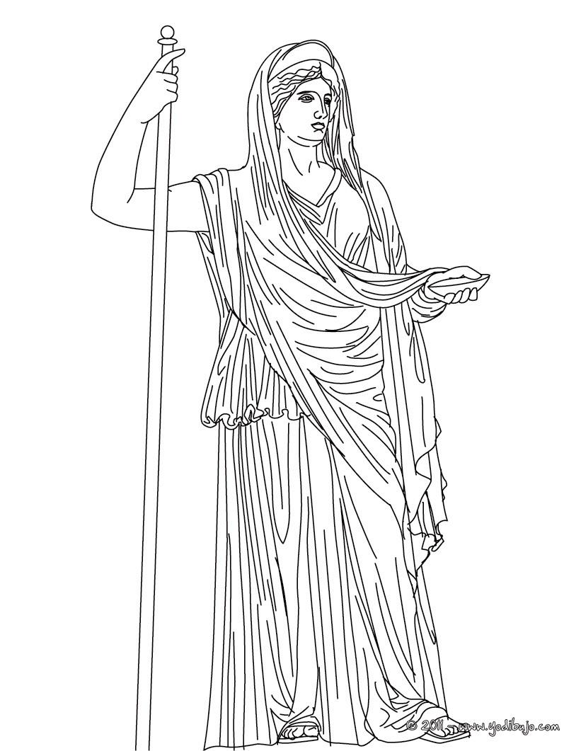 Dibujo para colorear : DIOSA HERA , diosa griega matrona