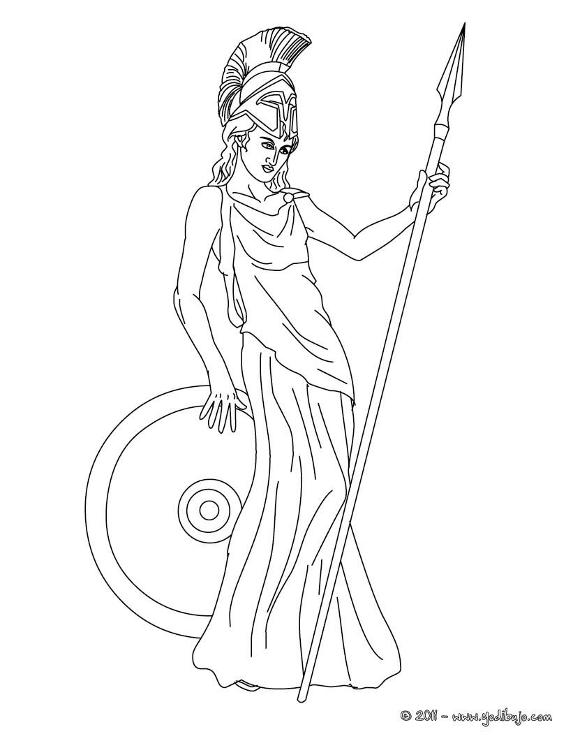 Dibujo para colorear : DIOSA ATENEA , diosa griega de la paz