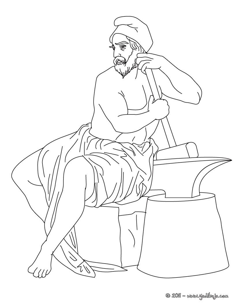 Dibujos para colorear dios hefesto  dios griego del fuego y los