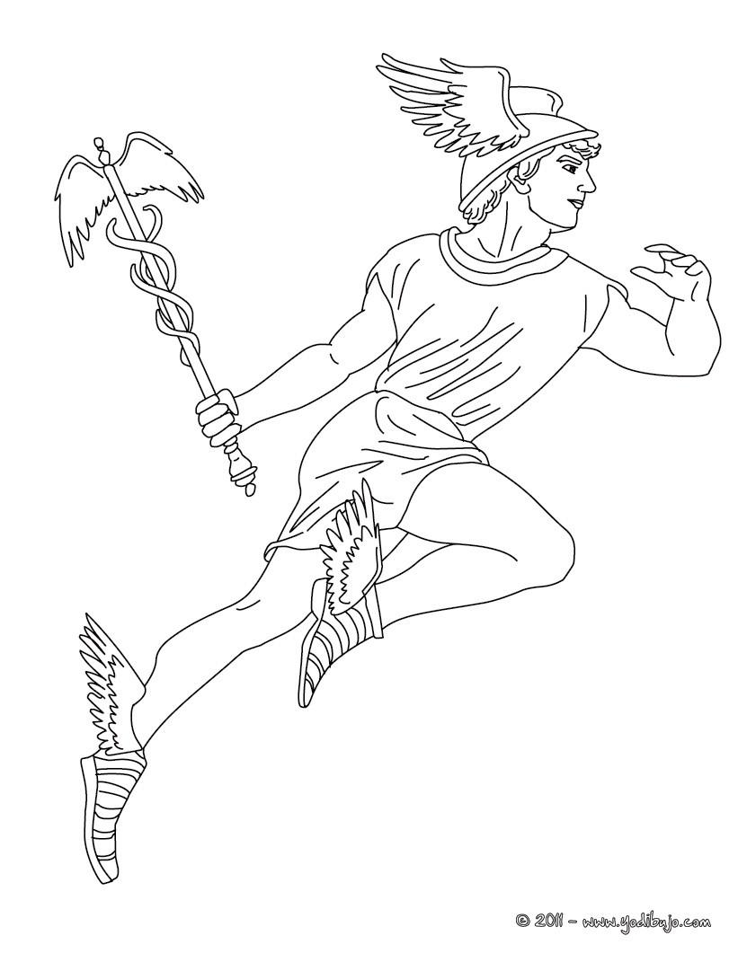 Dibujo para colorear : DIOS HERMES , mensajero de los dioses griegos