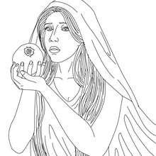 Dibujo para colorear : DIOSA PERSEFONE , reina del inframundo