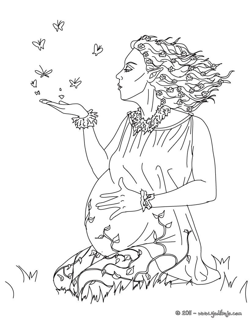 Dibujo para colorear : DIOSA GAIA O GEA, diosa griega de la naturaleza