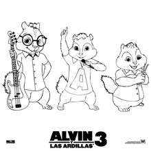 Dibujo de Alvin, Simon y Theodore para colorear - Dibujos para Colorear y Pintar - Dibujos de PELICULAS colorear - ALVIN Y LAS ARDILLAS para colorear