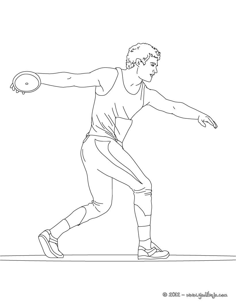 Dibujo para colorear : LANZAMIENTO DE DISCO por un atleta