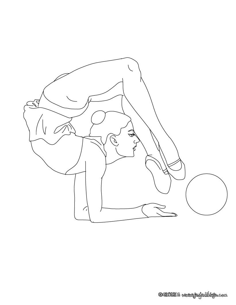 Dibujo para colorear : gimnasia ritmica EJERCICO DE PELOTA