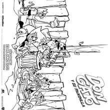 Dibujo para colorear : oficial Matute con don Gato y su Pandilla
