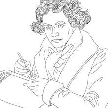 Retrato de LUDWIG VAN BEETHOVEN para colorear - Dibujos para Colorear y Pintar - Dibujos para colorear PERSONAJES - PERSONAJES HISTORICOS para colorear - ALEMANES para colorear