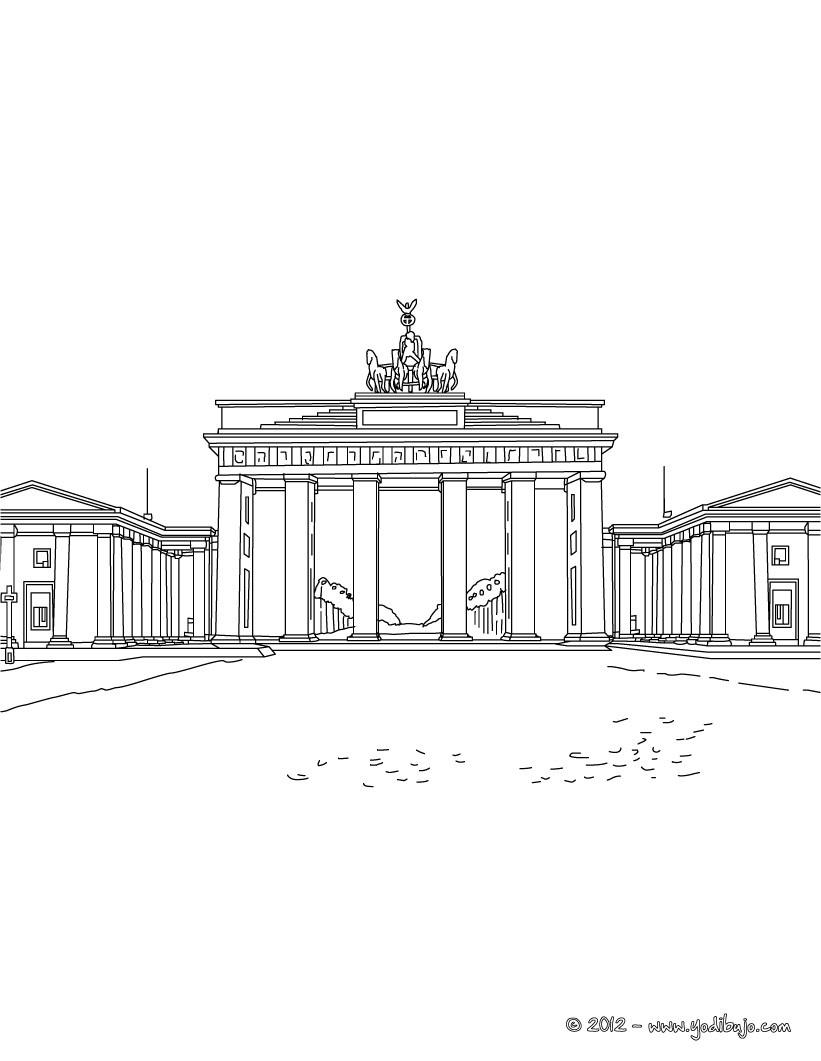 Dibujos para colorear puerta de brandeburgo de berlin - es.hellokids.com